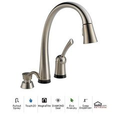 View the Delta 980T-SD-DST Pilar Pull-Down Spray Kitchen Faucet with Touch2O, MagnaTite Docking, Touch Clean, and Diamond Seal Technologies - Includes Soap / Lotion Dispenser at Build.com.