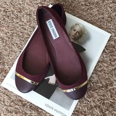 Steve Madden Kaily Flats Beautiful merlot colored flats with a gold accent on the toe. New without box. Steve Madden Shoes Flats & Loafers