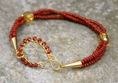 Gold and Red Bracelet with Handmade Hook Clasp