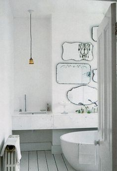 Modern bath with vintage mirrors. ~ETS