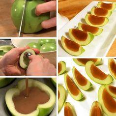 Découpez le noyau de quelques pommes, versez du caramel et placez le tout au réfrigérateur pendant une petite heure.
