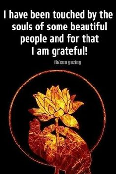 I have been touched by the souls of some beautiful people and for that I am grateful.