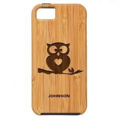 Bamboo Look & Engraved Cute Owl in Tree iPhone 5 Case