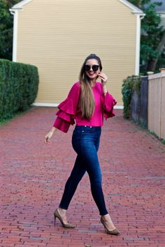 La Mariposa by Rachel Murray-Crawford Blouse Outfit, Jeans Dress, Sweater Outfits, Chic Outfits, Spring Outfits, Fashion Outfits, Zara Fashion, Trendy Fashion, Style Fashion