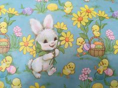 Vintage easter gift wrap easter fun bizarre pinterest vintage gift wrapping paper floral happy easter paper easter bunny chicks eggs by hallmark 1 unused full sheet easter gift wrap negle Gallery