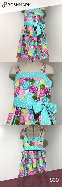 Size 6 Strap Dress with Twirl & Dots Pattern Pre💜EUC Vibrant Spring/Summer colors & fun design, ribbon 🎀 can be worn on the back also, please note that the string to loop the ribbon through is sewn •comes from a smoke & pet free home, 📬next business day, THANK YOU for visiting my closet HAPPY POSHING💞 Bonnie Jean Dresses