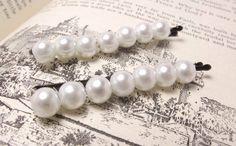 White Pearl Beaded Bobby Pins by JMEBeads on Etsy, $5.00
