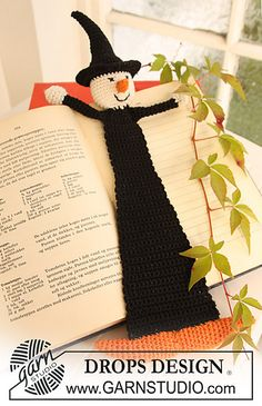 "Crochet DROPS book mark with witch in ""Safran"" for Halloween"