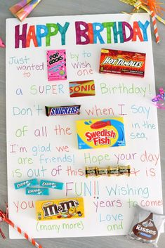 Candy Poster for a Birthday Need a super simple birthday gift for a friend? This candy poster works for any age, any gender and is super easy to put together! These cute sayings partnered with candy bars on a poster board makes a great gift! Birthday Candy Posters, Candy Birthday Cards, Candy Bar Posters, Birthday Presents, Candy Poster Board, Birthday Candy Grams, 16th Birthday Gifts, Birthday Gifts For Bestfriends, Cute Birthday Gift