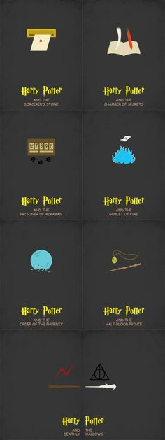 Harry Potter minimalist posters_so morally conflicted because I love the design but I swear to god that is comic sans and I'm so upset.