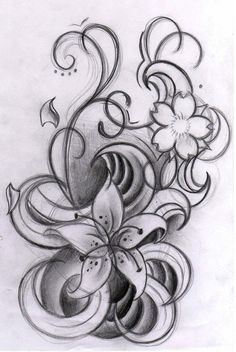 How I envision the tattoo I want for my kids but I would use their birthing flowers instead of those flowers.