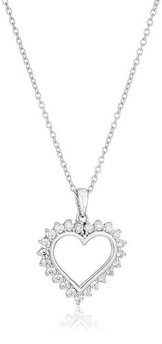 Platinum-Plated Sterling Silver Swarovski Zirconia Heart Pendant Necklace *** You can get additional details at the image link.