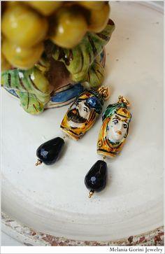 Le Gioie Di Mel (MelaniaGoriniJewelry): Le ceramiche di Caltagirone (made in Sicilia) diventano gioielli… Taormina Sicily, Clay Tools, Modern Jewelry, Art Decor, Pottery, Jewels, Sicilian, Earrings, Faces