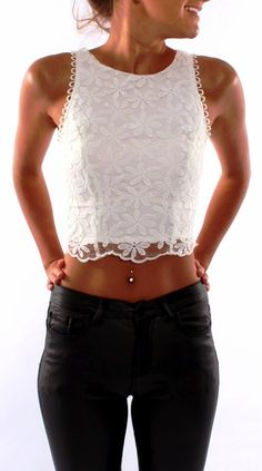 Crochet Tahan #White Top I have similar to this so we ll pair up with black leather pants like this
