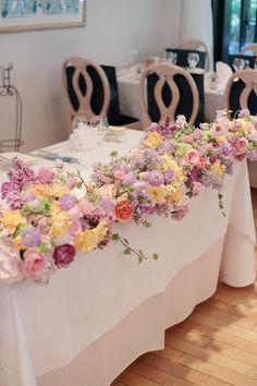 5月の装花 日比谷パレス様へ ライラック色のドレスに : 一会 ウエディングの花