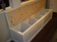 Turning a Bookcase into a Banquette - even better flip and add some decorative moulding and a lid!