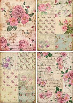 Postal patchwork decoupage. rosas.