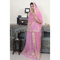 Stunning Nail Pink Rajputi Poshak