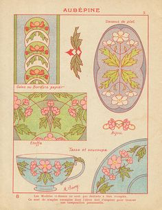 n2ecolier decorateur 6 | Flickr - Photo Sharing! Art Nouveau Pattern, Art Nouveau Tiles, Art Nouveau Design, Hand Embroidery Patterns, Print Patterns, Tarot, Art Nouveau Illustration, Art Nouveau Flowers, Flower Collage