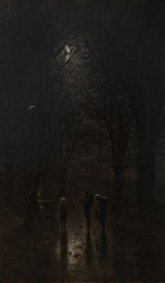 Night Pilgrims at the Crucifix. Trip through the Forest (Ca.1880 – 1882) by Laszlo Mednyanszky
