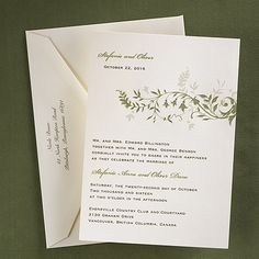 Leaves and Flowers Invitation: 100 Printed invitation and blank double ecru envelopes for $150.90