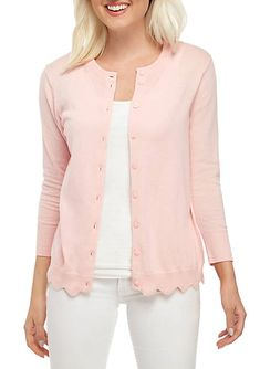 Soft scalloped edging gives this lightweight Crown & Ivy™ cardigan renewed appeal. Purple Cardigan Outfits, Light Pink Cardigan, Maxi Cardigan, Green Cardigan, Hooded Cardigan, Petite Sweaters, Valentines Outfits, Lightweight Cardigan, Clothing Labels