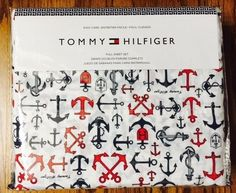 TOMMY HILFIGER NAUTICAL ANCHOR 4pc Full Sheet set Red Blue Anchors on White #TommyHilfiger #Nautical