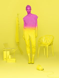Pink and yellow hues. High chroma for both colors. High saturation for pink, medium/low saturation for yellow.