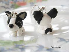 Bulldog Francés de blanco y negro por Belundika en Etsy