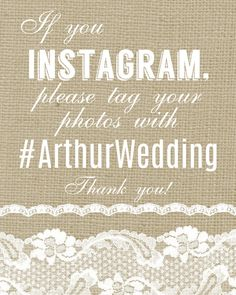 "8x10"" Burlap & Lace Instagram Wedding Reception Sign (Digital File or Physical Print)"