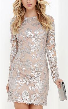 Dress The Population Grace Silver Sequin Dress via @bestchicfashion