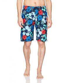 ec23ce6de8 Men's Hangout Floral Quick Dry Beach Board Shorts Swim Trunk - Navy/Red -  CO187DWH264