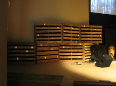 6 pallets for upper wings... Top Left: Connect, Bottom Middle: Grow, Top Right: Impact http://www.churchstagedesignideas.com/2012/10/04/projection-and-candles/#