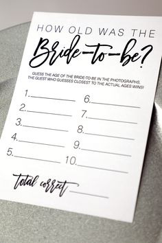 How Old Was The Bride-To-Be ? How Old Was The Bride-To-Be Bridal Shower Game . Bridal Shower Games guess her age bridal shower game Bridal Shower Games Prizes, Printable Bridal Shower Games, Wedding Shower Games, Tea Party Bridal Shower, Bridal Shower Fall, Bridal Shower Foods, Bridal Shower Question Game, Outdoor Wedding Games, Game Prizes
