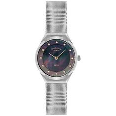 6e252a206d4 Rotary LB02609 38 Women s Crystal Set Black Dial Mesh Bracelet Watch