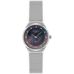 Buy Rotary LB02609/38 Women's Crystal Set Black Dial Mesh Bracelet Watch, Silver/Black Online at johnlewis.com