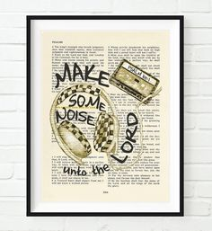 Vintage Bible verse scripture - Make Some noise uno the Lord - joyful sound - Psalm 100:1 Christian ART PRINT, UNFRAMED, mix tape headphones dictionary wall & home decor poster gift. This UNFRAMED reproduction print of a highlighted King James Bible scripture is sure to bring encouragement or hope to someone. We scan real pages from old Bibles (thus they have slight flaws and aging such as bleeding words from the other side, because the pages are so thin), which just adds to the…