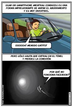 Usar un smartphone mientras conduces. #humor #risa #graciosas #chistosas #divertidas