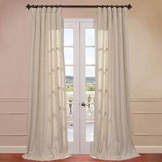 "Half Price Drapes Hilo Natural Linen Blend Semi-Opaque Single Curtain Panel Size: 50"" W x 108"" L, Header Type: Rod Pocket"