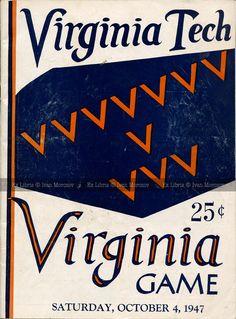 "1947.10.04. Virginia Tech vs UVA. Virginia Tech (Hokies) vs University of Virginia (Cavaliers). VT Head Coach: James R. ""Jimmy"" Kitts. Victory Stadium, Roanoke, VA. Final score: Virginia Tech 7, UVA 41."