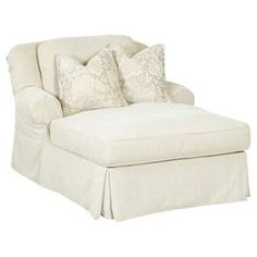 "Showcasing off-white upholstery, rolled arms, and a tailored skirt, this understated chaise offers a neutral anchor for colorful pillows and decor.  Product: ChaiseConstruction Material: Polyester and woodColor: Off-white  Features:  Rolled armsTailored skirt  Dimensions: 34"" H x 48"" W x 63"" DNote: Throw pillows not included"
