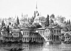 Esma sultan sarayı, Eugene Flandin litografisi.