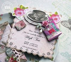 Tea Party Invitation Card...with cute altered tea bag attached
