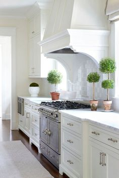 White Kitchen with Topiaries. Exquisite kitchen features a white paneled kitchen hood with corbels, flanked by windows and topiaries, suspended over a French range. white-kitchen-with-topiaries #WhiteKitchen #Topiaries Sarah Bartholomew Design