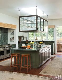 Kitchen, Glass hanging cabinet for dishware, Green cabinets