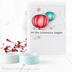How creative is this card by Debby Hughes using Simon Says Stamp Pumpkins for Hot Air Balloons for the Simon Says Stamp Blog.  October 2014