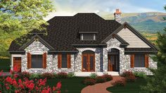 Enchanting Stone French Country HWBDO77022 European from BuilderHousePlans.com.  #newconstruction #floorplans