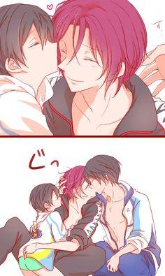 Kiss part 1 ... Drawn by さきもと ... Free! - Iwatobi Swim Club, Haruka Nanase, Rin Matsuoka, rinharu, haru nanase, rin, haru, free!, iwatobi