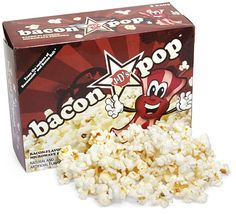 BaconPop is bacon flavored popcorn. It's vegetarian and certified Kosher (aka, it tastes like bacon, but no pigs were harmed!).