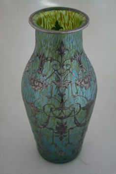 Tiffany Favrile glass vase the blue glass